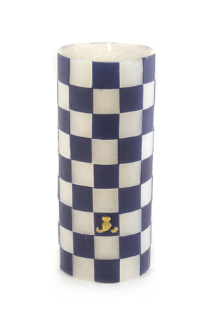 "MacKenzie-Childs Navy Check 6"" Pillar Candle"