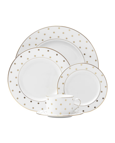 kate spade new york 5-Piece Larabee Road Gold-Dot Dinnerware Place Setting