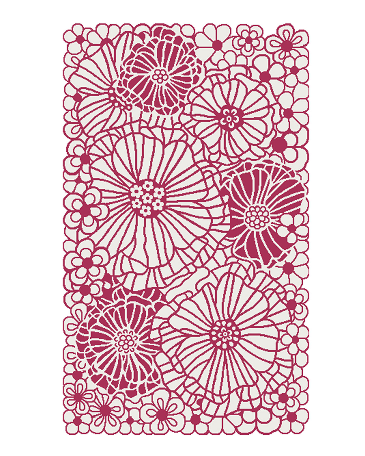 MacKenzie-Childs Raspberries and Cream Floral Rug, 3' x 5'