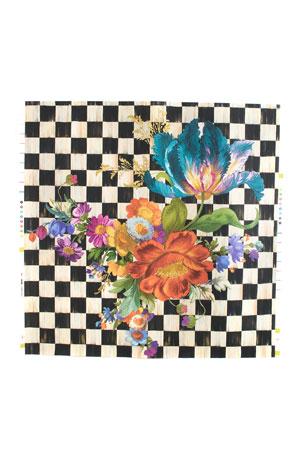 MacKenzie-Childs Courtly Flower Market Black Wallpaper