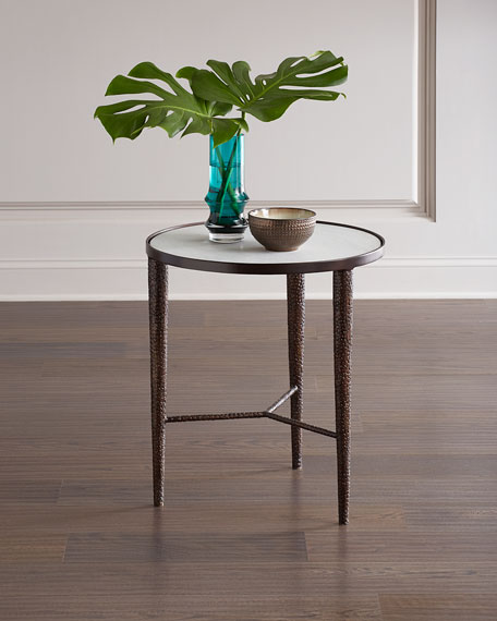 Image 1 of 2: Global Views Hammered Bronze End Table