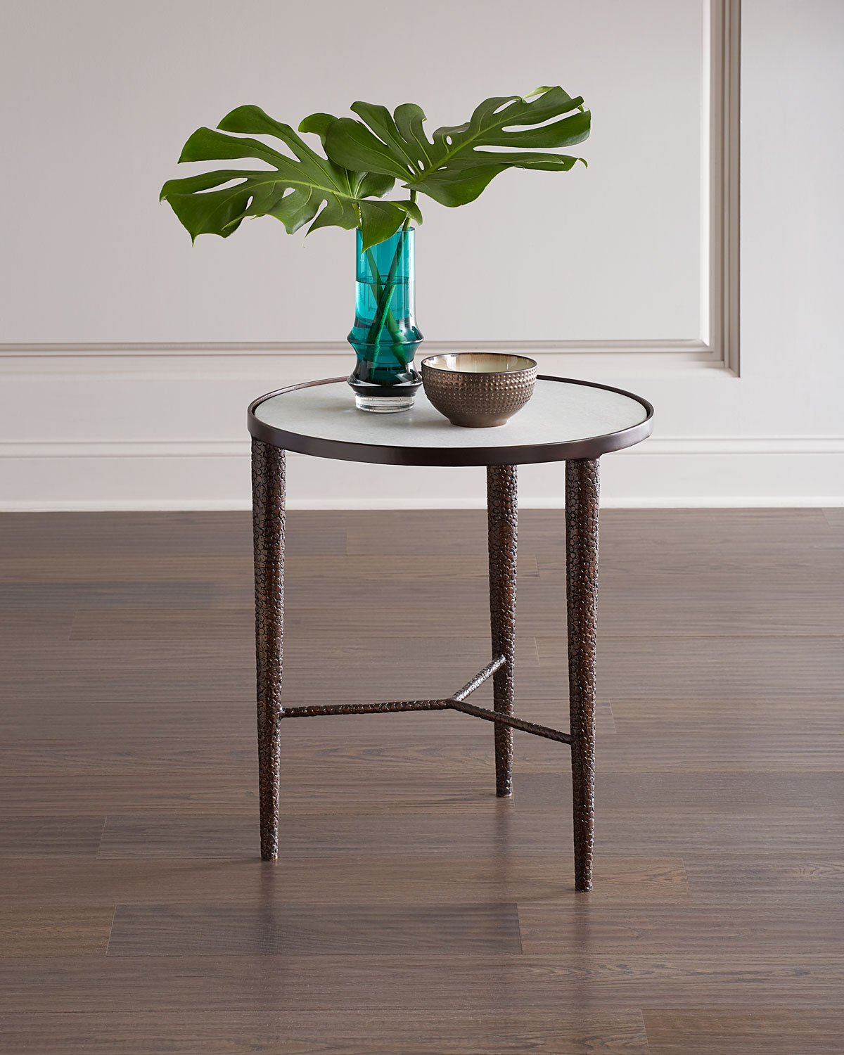 Global Views Hammered Bronze End Table