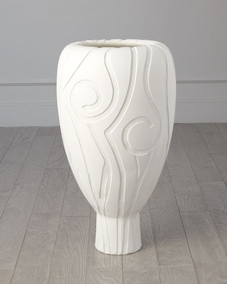 Global Views Lucca Matte White Grande Vase