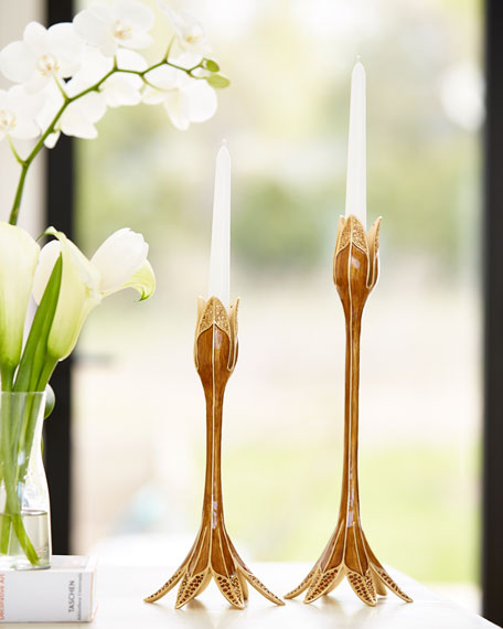 Jay Strongwater Tulip Tall Candlestick Holder