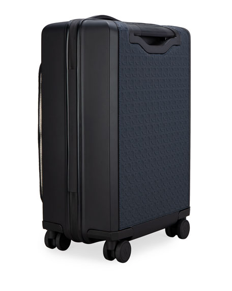 Image 2 of 4: Salvatore Ferragamo Men's Gancio Leather Spinner Luggage