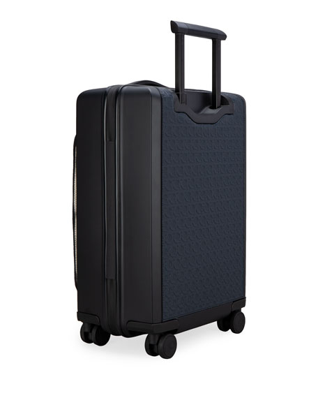 Image 4 of 4: Salvatore Ferragamo Men's Gancio Leather Spinner Luggage