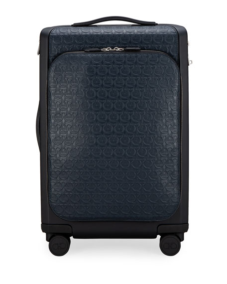 Image 1 of 4: Salvatore Ferragamo Men's Gancio Leather Spinner Luggage