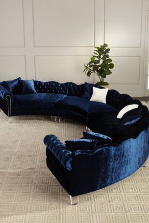 Haute House Aime 4-Piece Crushed Velvet Sectional