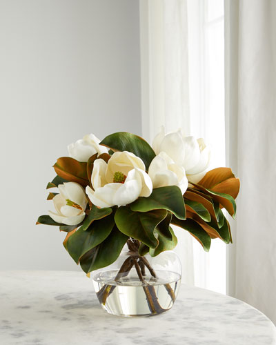 Magnolias in Glass Ginger Vase