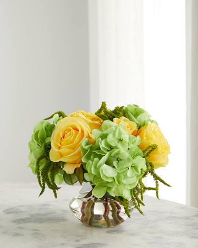 Rose Hydrangea Arrangement in Glass Vase