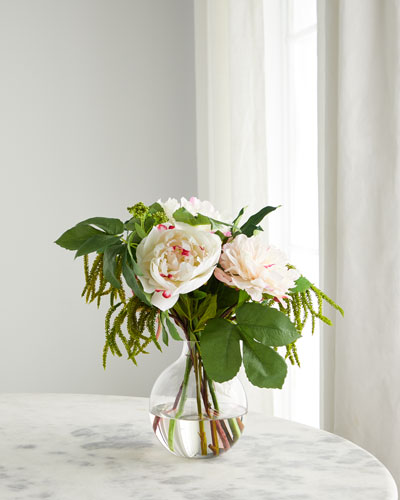 Peonies in Glass Bubble Vase