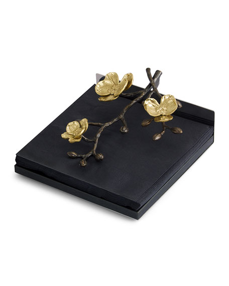 Image 1 of 2: Gold Orchid Dinner Napkin Holder