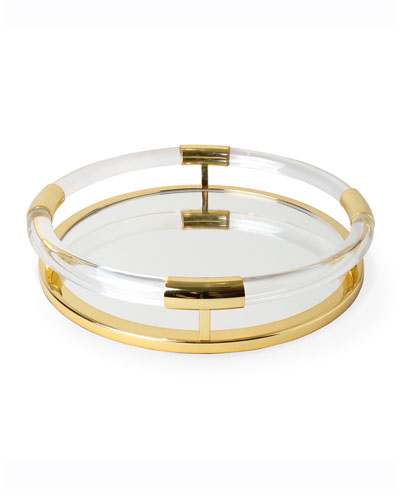Round Jacques Tray - Brass/Clear