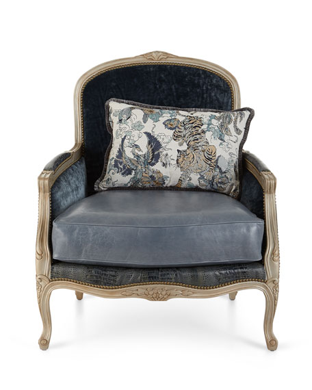 Massoud Larabee Leather Bergere Chair