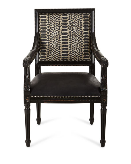 Massoud Maurepas Leather Dining Arm Chair