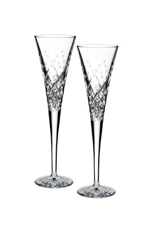 Waterford Crystal Wishes Happy Celebration Toasting Flutes, Set of 2