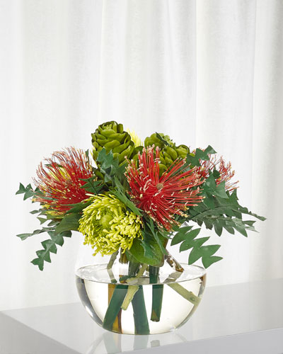 Protea in Glass Bubble Vase