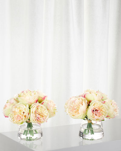 Set of 2 Light Pink Peony in Glass Vases