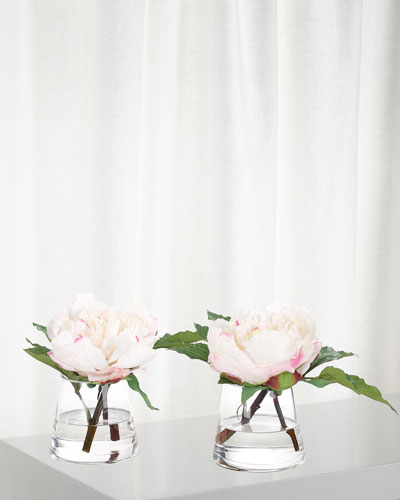 Set of 2 White/Pink Peonies in Glass Vases