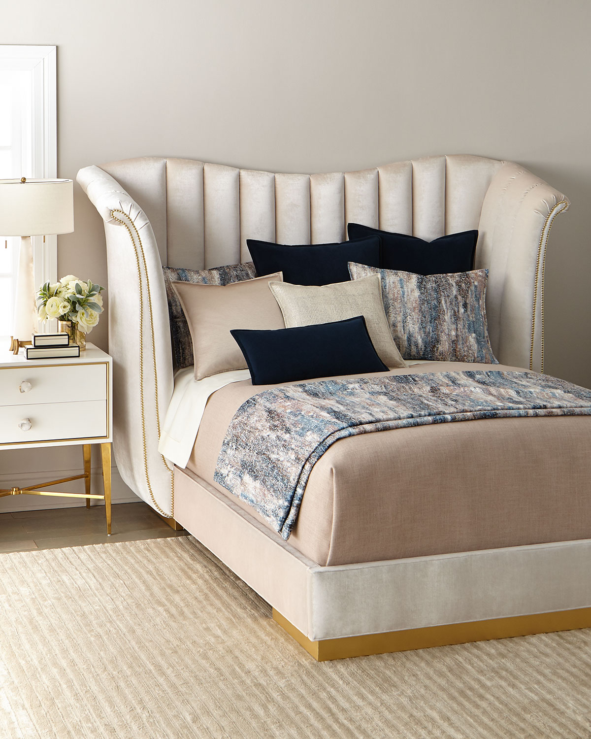 Haute House Moira Snow Channel Tufted King Bed