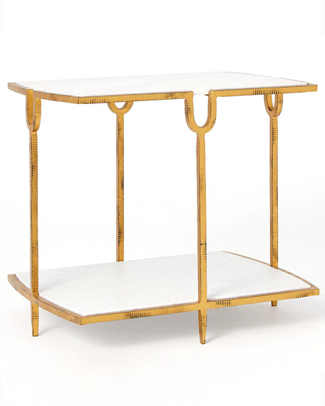 Image 2 of 2: William D Scott Curve Gold Side Table
