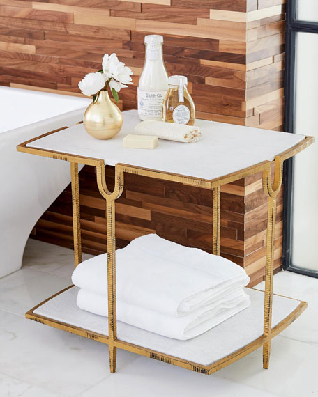 Image 1 of 2: William D Scott Curve Gold Side Table