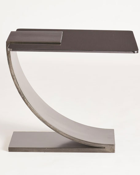 Image 2 of 5: William D Scott Side Table with Smoke Glass Top