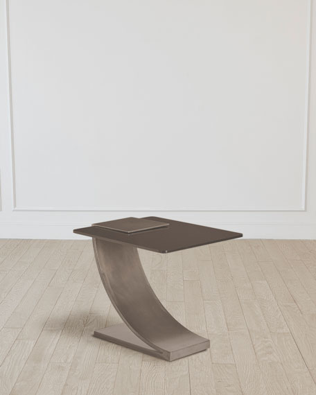 Image 1 of 5: William D Scott Side Table with Smoke Glass Top