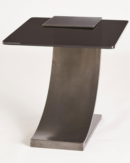 Image 5 of 5: William D Scott Side Table with Smoke Glass Top
