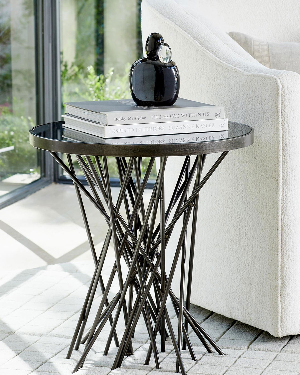 William D Scott Stix Side Table with Bronze Glass Top