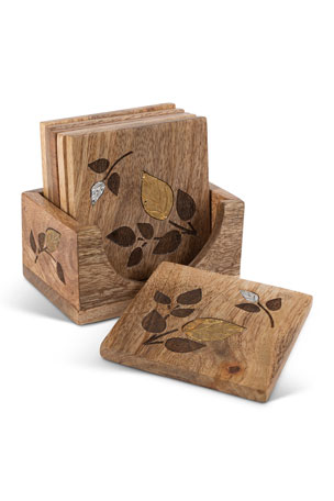 G G Collection Mango Wood Laser Metal Inlay Leaf Coasters, Set of 6