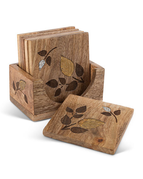 Image 1 of 2: G G Collection Mango Wood Laser Metal Inlay Leaf Coasters, Set of 6