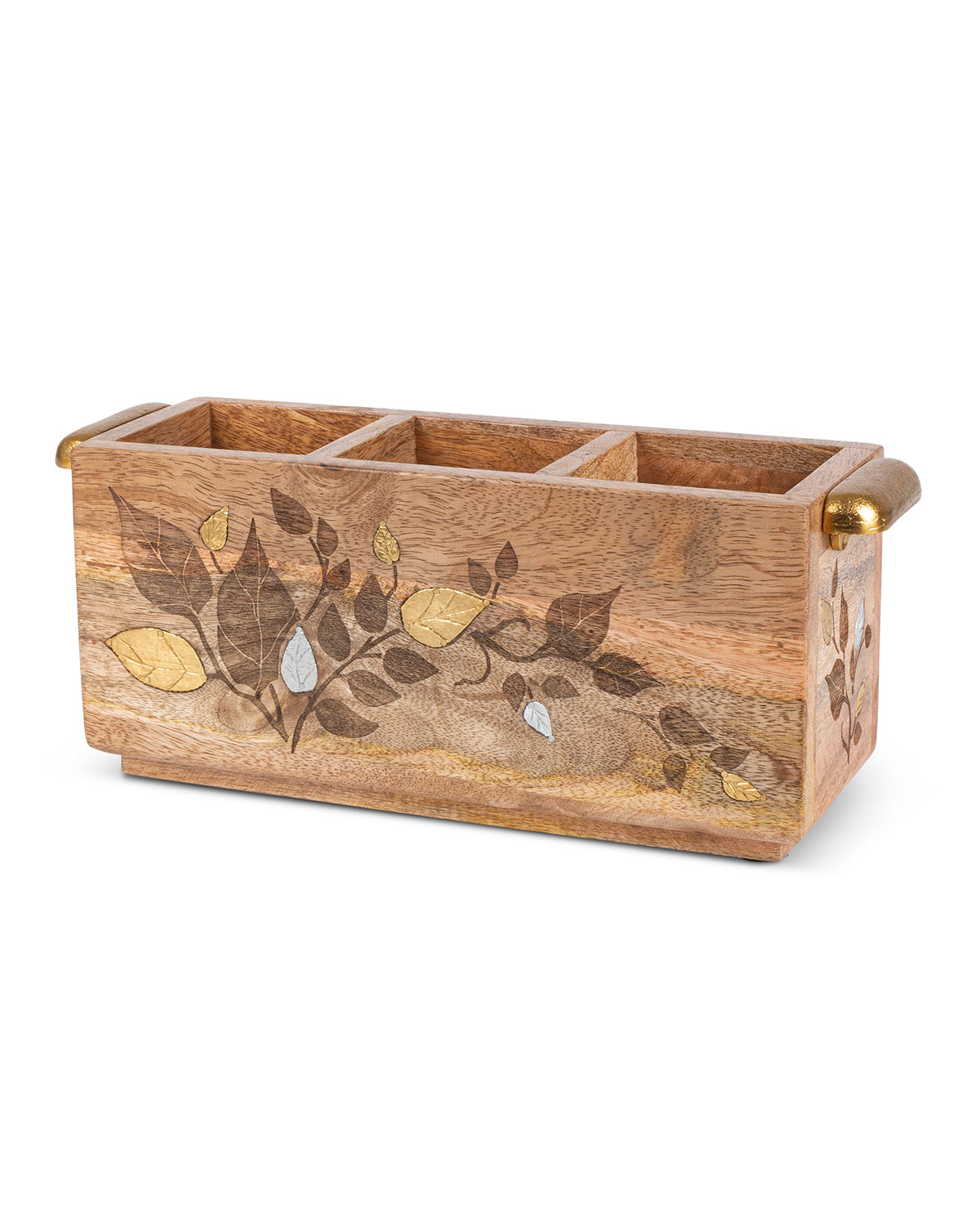 G G Collection Mango Wood Laser Metal Inlay Flatware Caddy