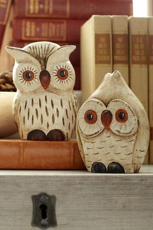 Exclusive Carved Wooden Orange Owls, Set of 2
