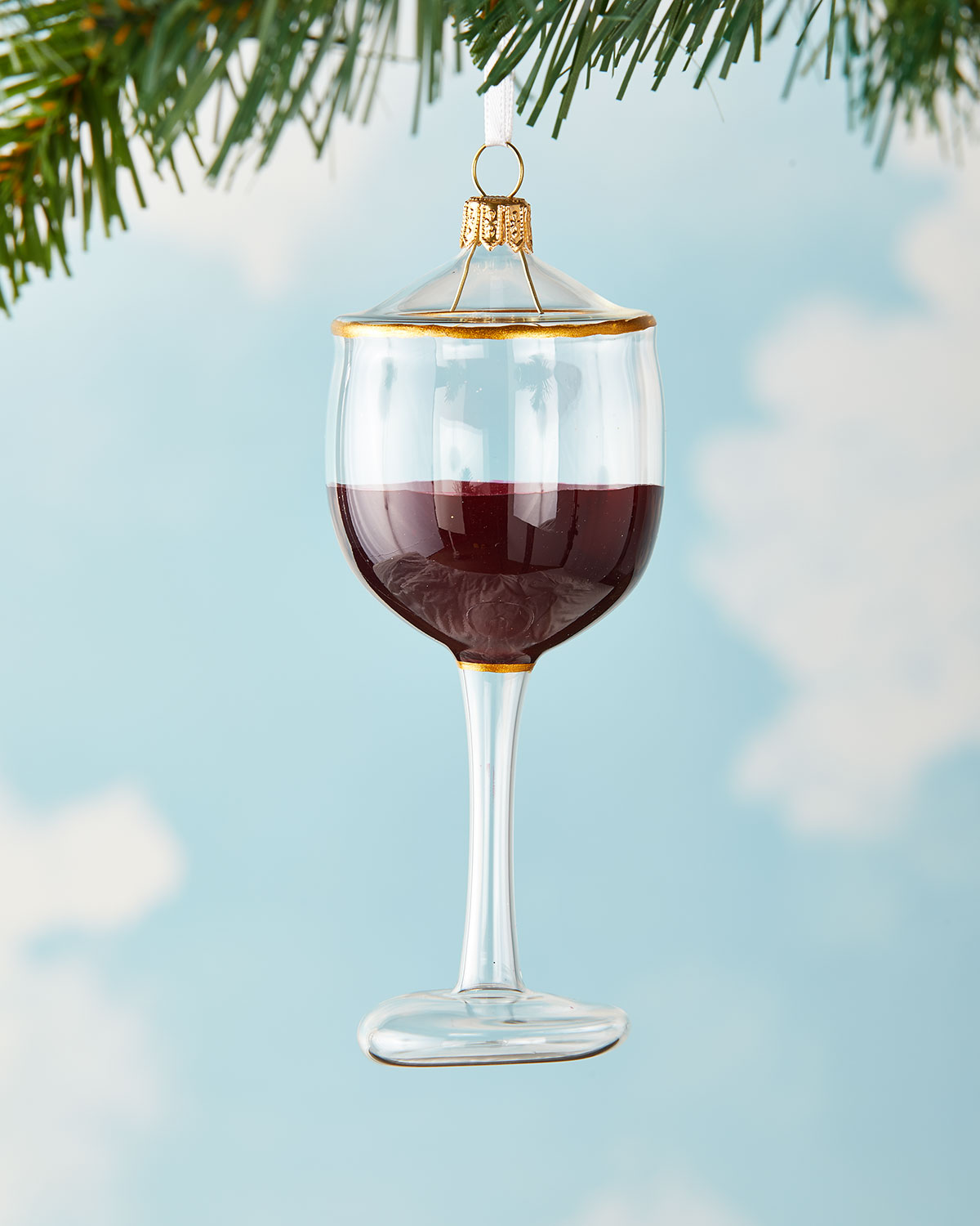 Exclusive Red Wine Glass Christmas Ornament