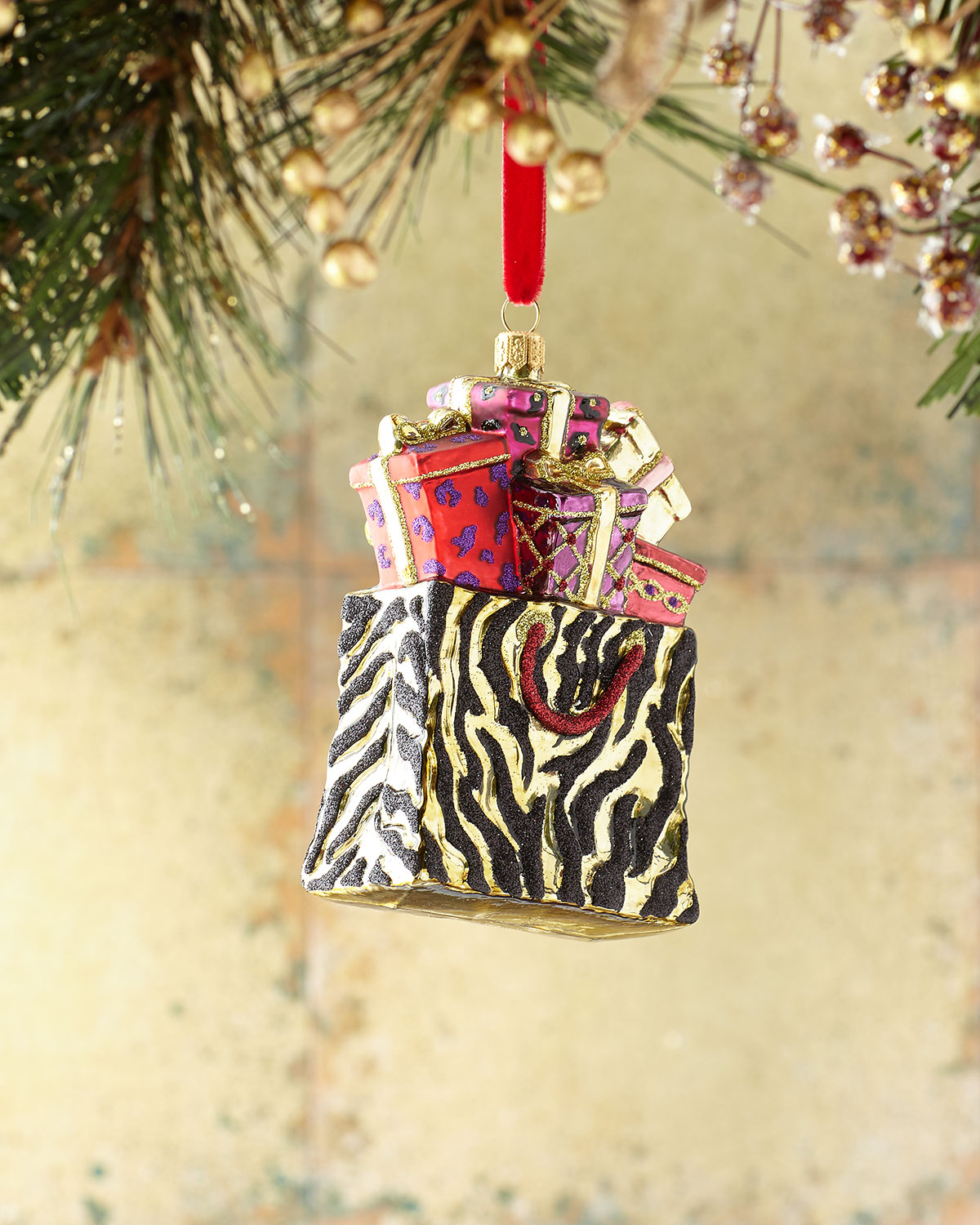 Exclusive Animal-Print Shopping Bag Christmas Ornament