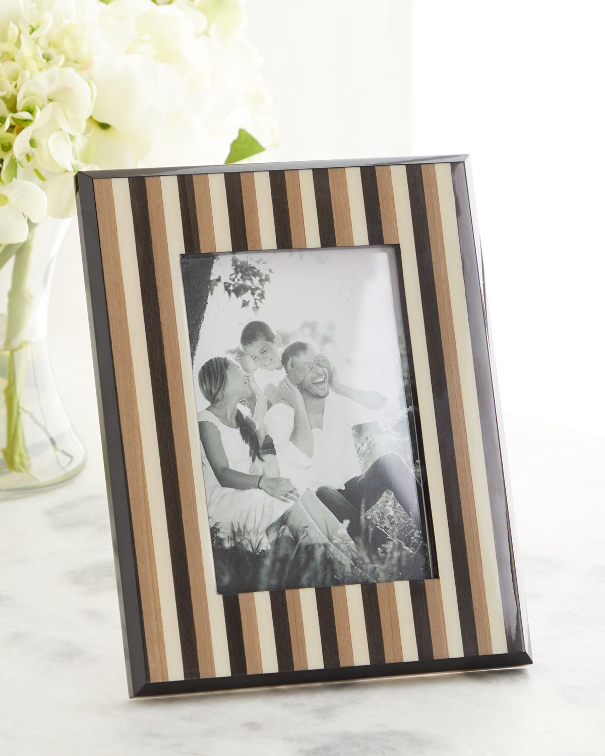 "Striped Inlaid Wood Picture Frame, 5"" x 7"""