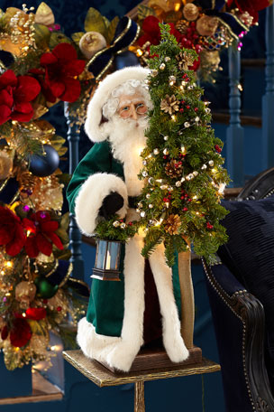 "Ditz Designs By The Hen House Malachite Christmas Santa, 29"""
