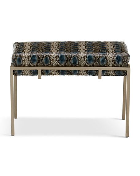 Image 2 of 2: John-Richard Collection Metal Silver Upholstered Bench