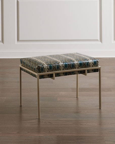 Image 1 of 2: John-Richard Collection Metal Silver Upholstered Bench