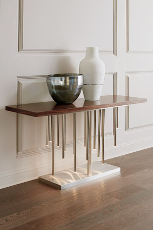 John-Richard Collection Illuminated Console in Stainless Steel
