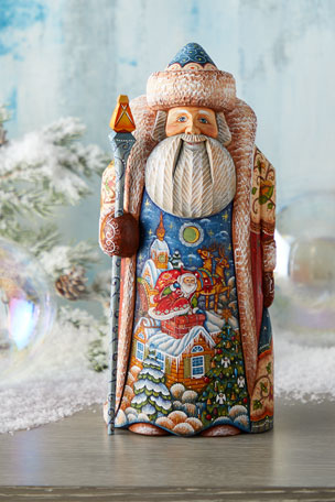 G. Debrekht Special Delivery Wood-Carved Santa, Limited Edition in Wooden Chest