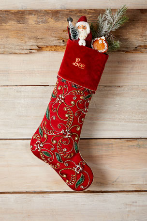 Kim Seybert Holiday Cheer Stocking, Personalized