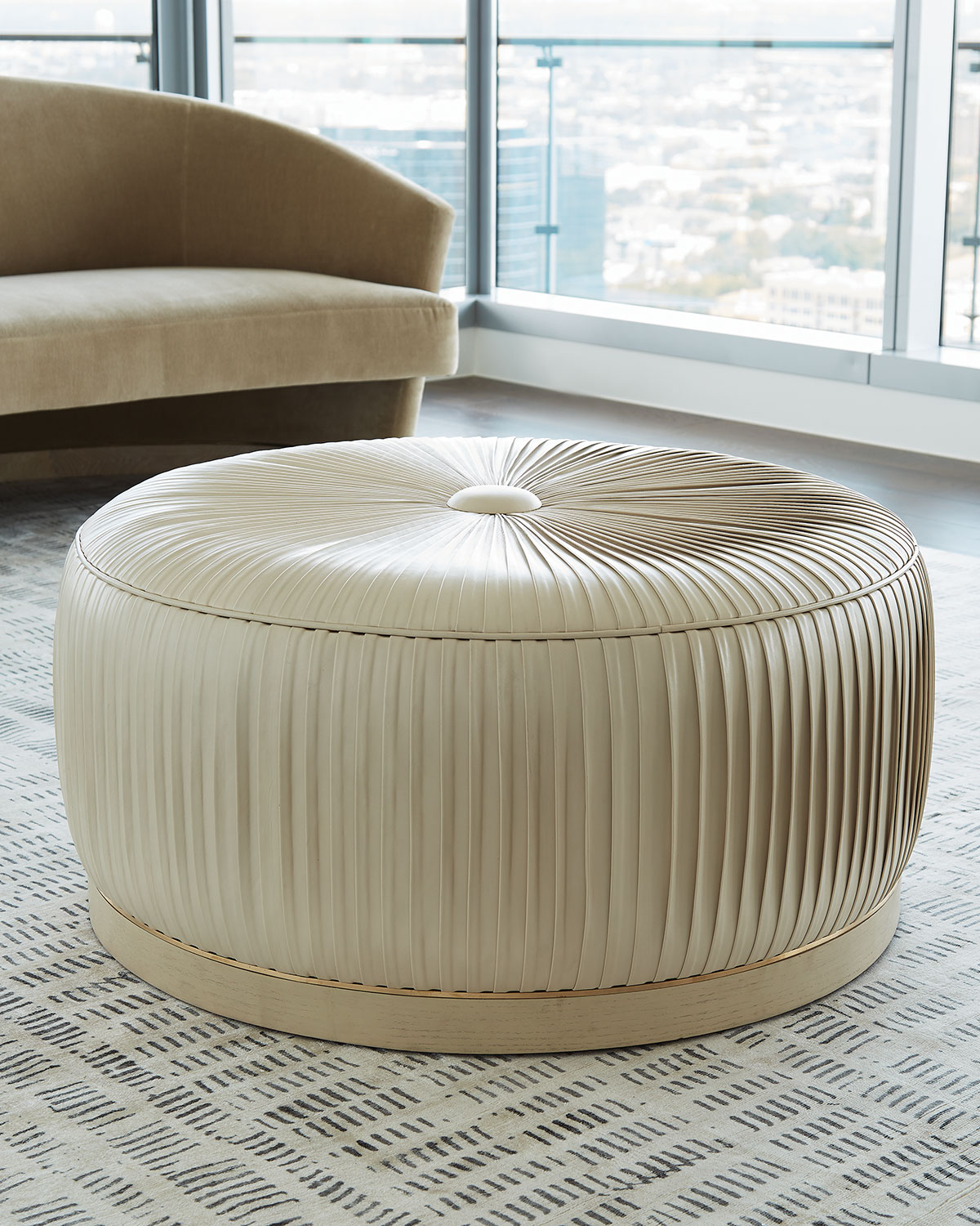 Form Design Studio By Global Views Colette Pleated Leather Ottoman Neiman Marcus