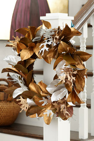 Jim Marvin Golden Silver Leaf Wreath