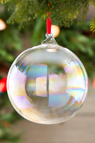 Jim Marvin 150mm Iridescent Glass Ball Ornament with Hook