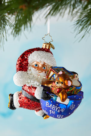 Christopher Radko Hurry Santa It's Baby's First Christmas Ornament