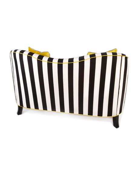 Image 2 of 2: MacKenzie-Childs Marquee Chenille Stripe Settee