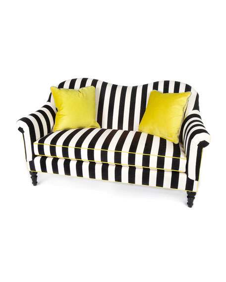 Image 1 of 2: MacKenzie-Childs Marquee Chenille Stripe Settee
