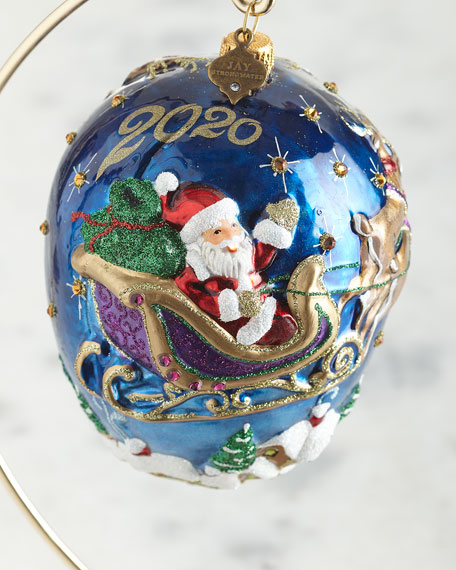 Jay Strongwater 2020 Santa with Reindeer Glass Ornament   Neiman